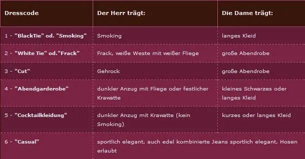Tabelle Dresscode Brautmode Hannover » Du Baroque